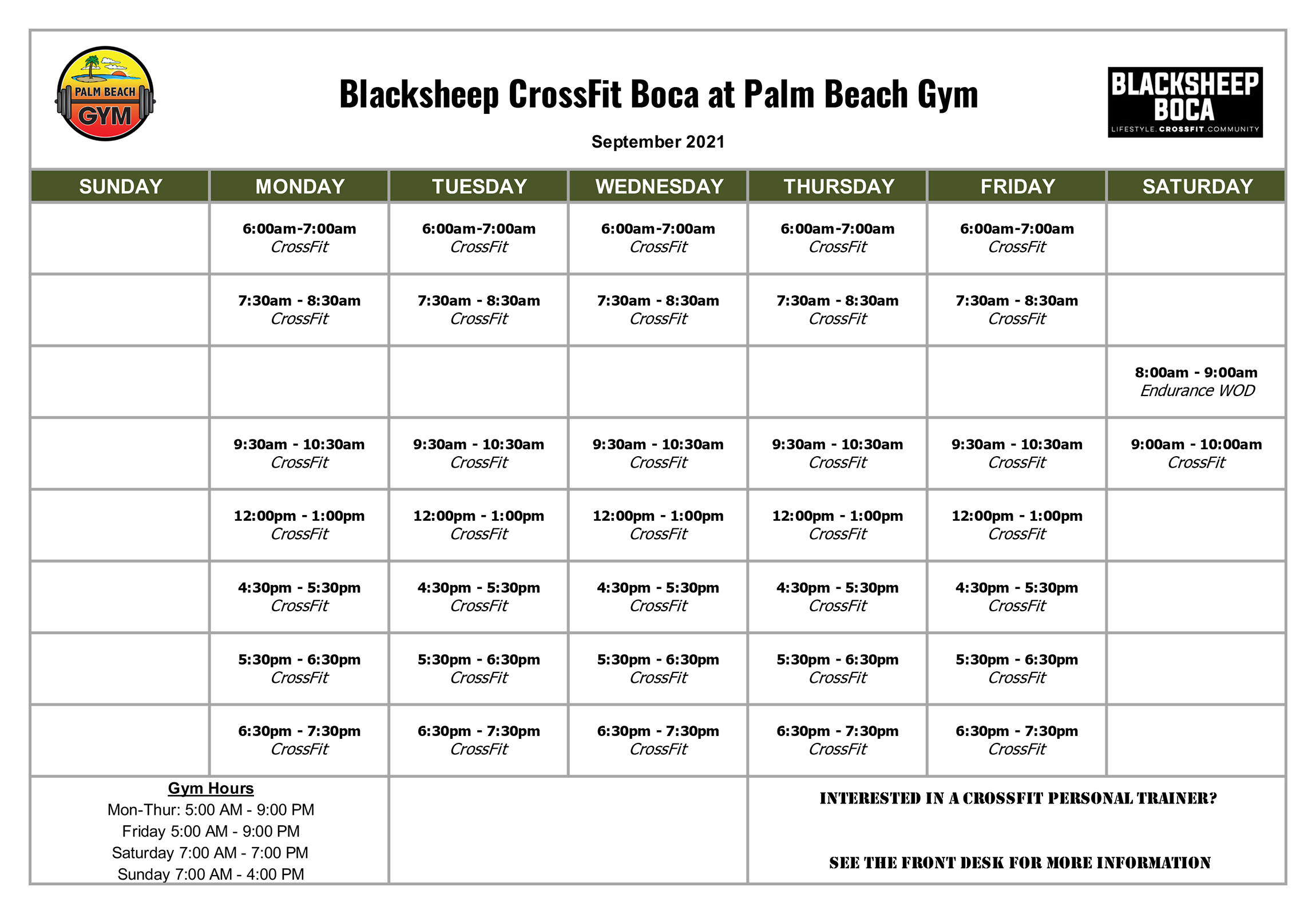 Blacksheep Boca Raton CrossFit Class Schedule